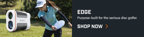 Edge Laser Rangefinder with woman throwing a disc golf driver