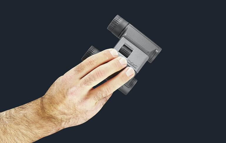 Detail shot of Powerview 2 Binoculars in hand