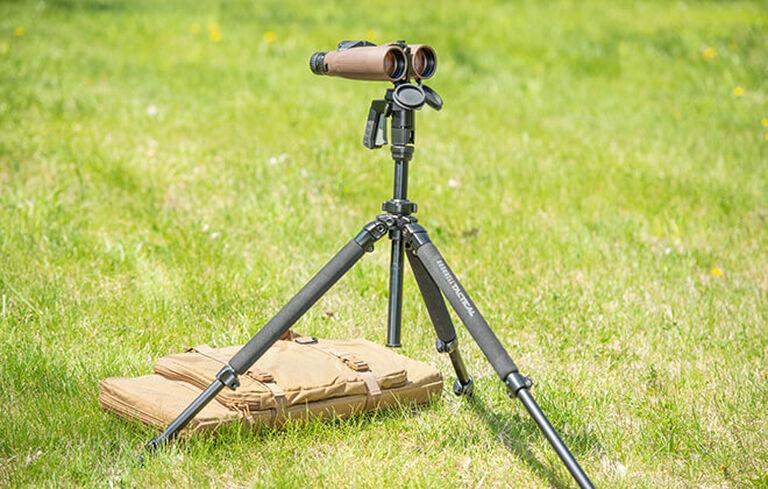 Tactical Tripod Kit Bag in field with binoculars and tripod