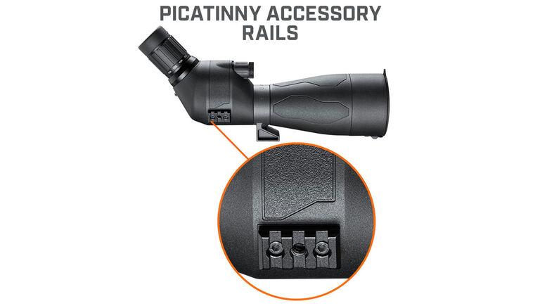 Picatinny accessory rails on the Bushnell Engage DX Spotting Scope