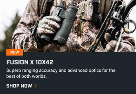 Bow hunter holding Fusion X 10x42 Rangefinding Binoculars