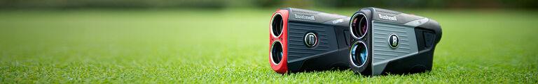 Bushnell Golf Tour V5 and Tour V5 Shift Rangefinders on golf course green