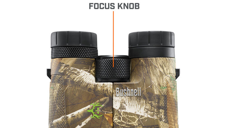 Close up of the focus knob on the Bushnell Powerview Binoculars
