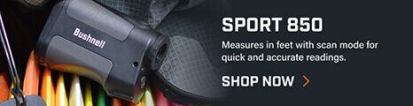 Sport 850 Laser Rangefinder in bag with disc golf equipment