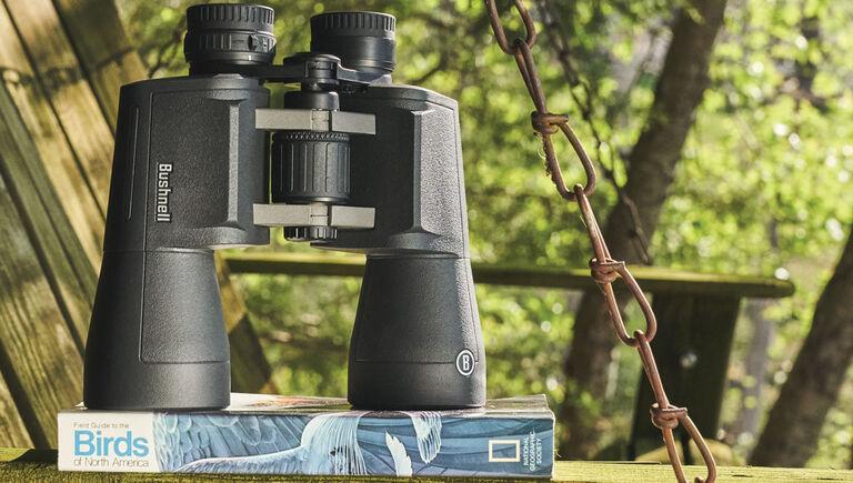 Bushnell Powerview 2 Binoculars on a bird watching book