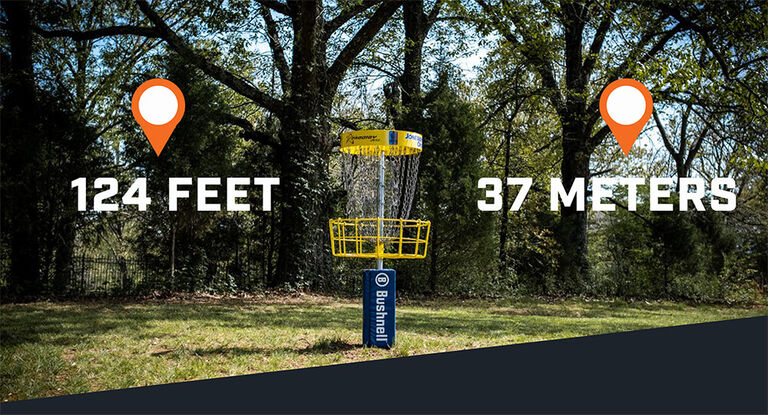 View of disc golf hole with distances in feet and meters