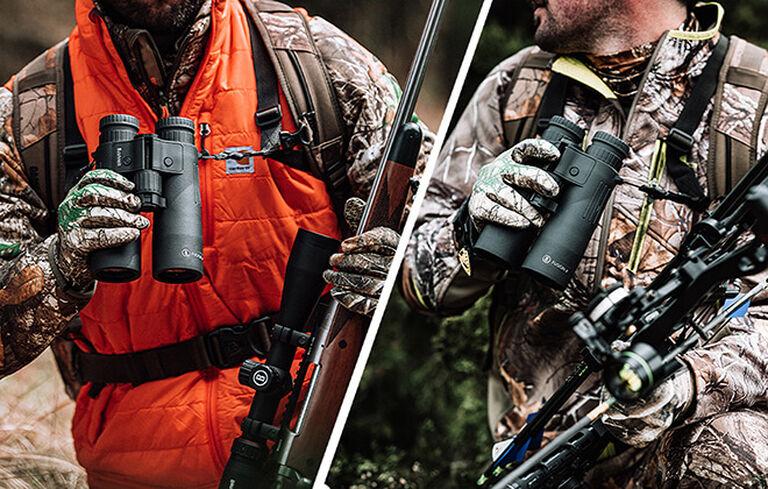 Bow and Rifle hunters holding Fusion X 10x42 Rangefinding Binoculars