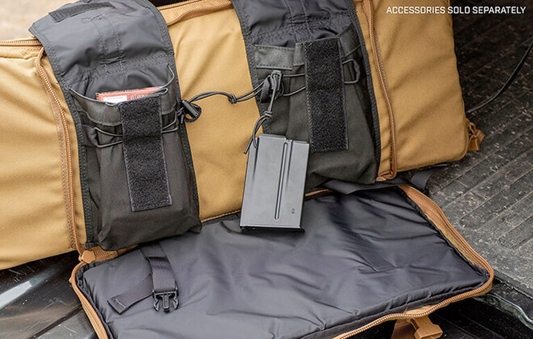 Detail of Tactical Tripod Kit Bag's storage compartments
