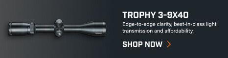 Trophy 3-9x40 Riflescope on dark background