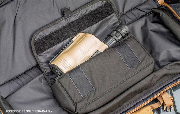 Spotting Scope placed inside Tactical Tripod Kit Bag