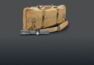 Forge 1-8x30 Riflescope and Tactical Bag on dark background