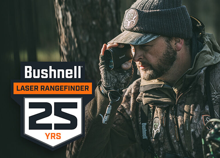 Hunter looking through a Bushnell Laser Rangefinder