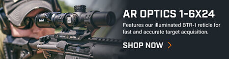 Shooter aiming through AR Optics 1-6X24 Riflescope