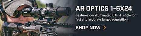 Shooter aiming through AR Optics 1-6X24 Riflescope