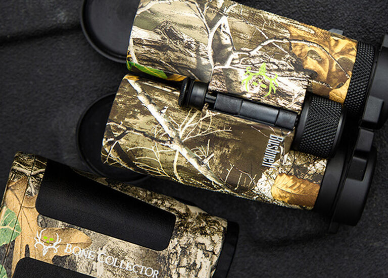 Bone Collector Realtree Rangefinder and Binocular on dark background