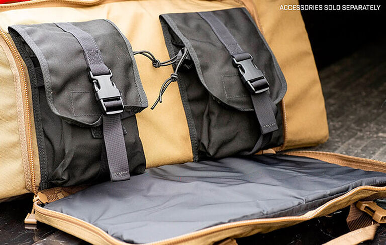 Detail of Tactical Tripod Kit Bag's secure compartments